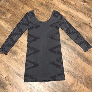 Monrow Gray Long Sleeve Distressed Body Con Dress